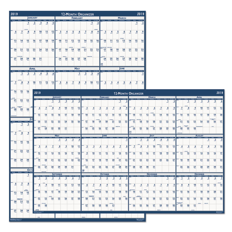 RECYCLED POSTER STYLE REVERSIBLE/ERASABLE YEARLY WALL CALENDAR, 24 X 37, 2019