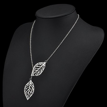 Simple Mori Metal Hollow Leaf Necklace Female Double Leaf Short Clavicle Chain - image 1 of 6