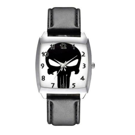 The Punisher Superhero Bad Good Guy Action Figure Black Skull Head Watch-135-P - Black Cat Superhero