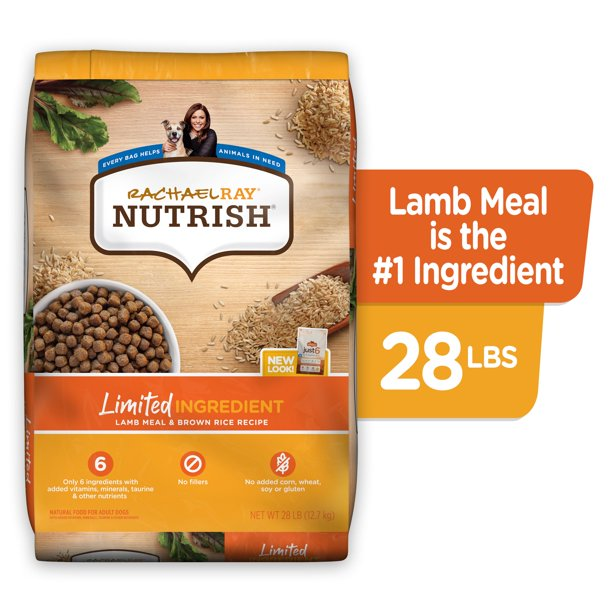 Rachael Ray Nutrish Just 6 Natural Premium Dry Dog Food, Limited Ingredient, Lamb Meal & Rice, 28 Lbs