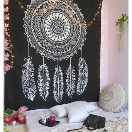 Black Dreamcatcher Tapestry Boho Wall Tapestry Hippie Decorative Tapestries Bohemian College Dorm Wall Hanging Queen Bedspread Beach Throw Picnic Blankets Online
