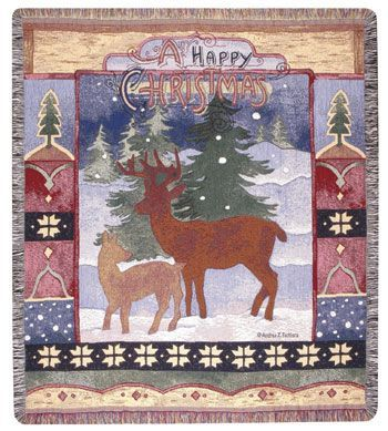 "A Happy Christmas Holiday Deer Family Tapestry Throw 50"" x 60"" USA Made"