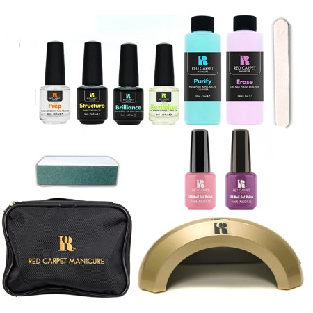 Red Carpet Manicure Cinderella 5 Color Led Gel Nail Polish Kit Set Travel Bag