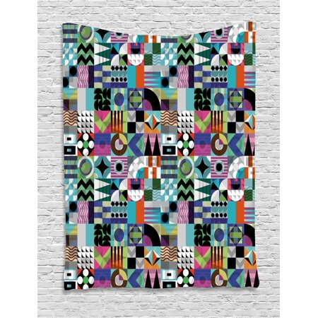 Mid Century Tapestry, Mix of Various Different Geometric Shapes in Squares Funky Sixties Revival, Wall Hanging for Bedroom Living Room Dorm Decor, 40W X 60L Inches, Multicolor, by (15th Century Tapestry)
