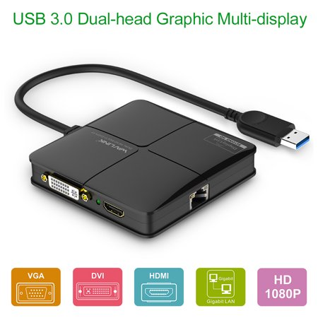 Wavlink USB 3.0 Dual-Head Graphics / Multi-Display with Gigabit Ethernet Adapter ( HDMI up to 2048 x 1152 and DVI/VGA 1920 x 1200 ) Supports Windows Mac OS