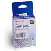 OfficeMate Push Pins in Reusable Box, Clear