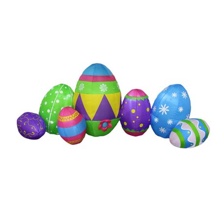 BZB Goods 8 Foot Long Inflatable Colorful Patterned Easter Eggs Decoration - Easter Goods