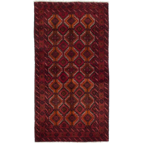 ECARPETGALLERY One-of-a-Kind Finest Baluch Wool Hand-Knotted Red Area Rug