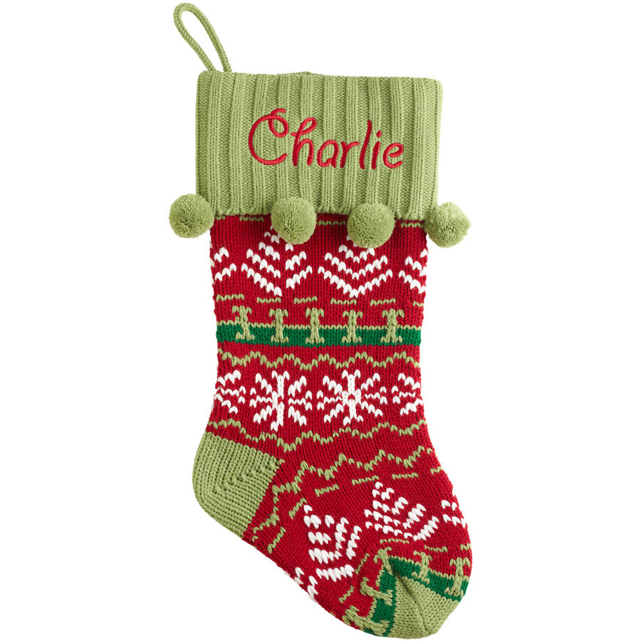 Personalized Snowflake Knit Christmas Stocking Made of acrylic ...
