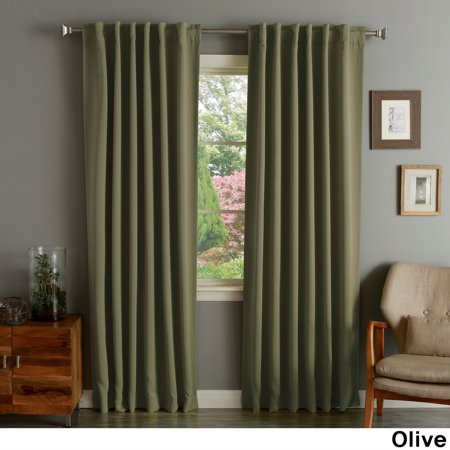 Aurora Home Solid Thermal Insulated 108 Inch Blackout Curtain Panel Pair Olive