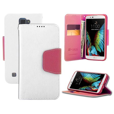 new styles 6a055 44574 WHITE/PINK INFOLIO WALLET CREDIT CARD ID CASH CASE COVER STAND FOR LG K7  and LG TRIBUTE 5 (LG LS675, LG MS330, Sprint, MetroPCS, Boost Mobile)