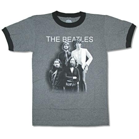Beatles Shadow Cast Ringer Heather Dark Charcoal Grey T Shirt ()
