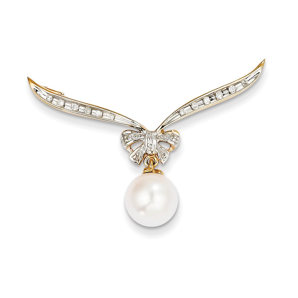 14k Yellow Gold Diamond & Freshwater Cultured Pearl Slide Pendant