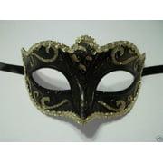 Black Gold Small Child Teen Ornate Masquerade Mardi Gras Costume Mask Prom Dance