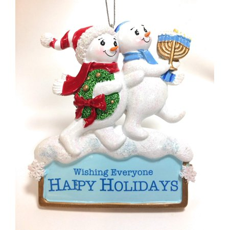 Hanukkah and Christmas Snowmen Ornament - Hanukkah Ornaments