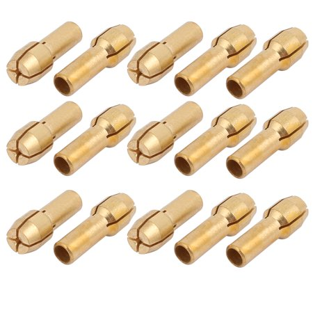 Unique Bargains 15pcs 0.5mm Clamping Dia Copper Collet Adapter Nut for Rotary Power Tool