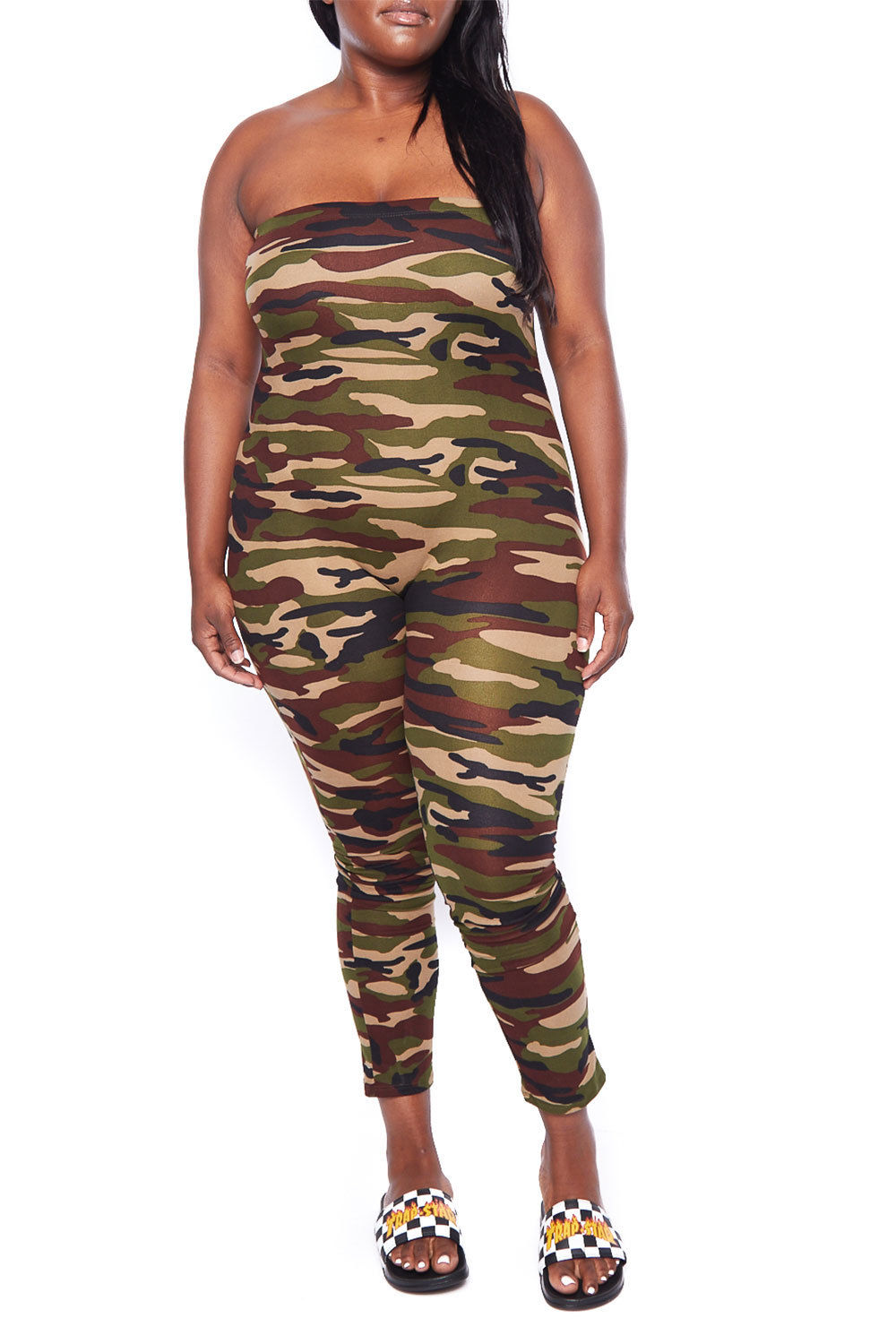 7d0169df10b Womens Plus Size Camouflage One-Piece Pull On Casual Strapless Tube Jumpsuit  1741EX-XL-Camo - Walmart.com