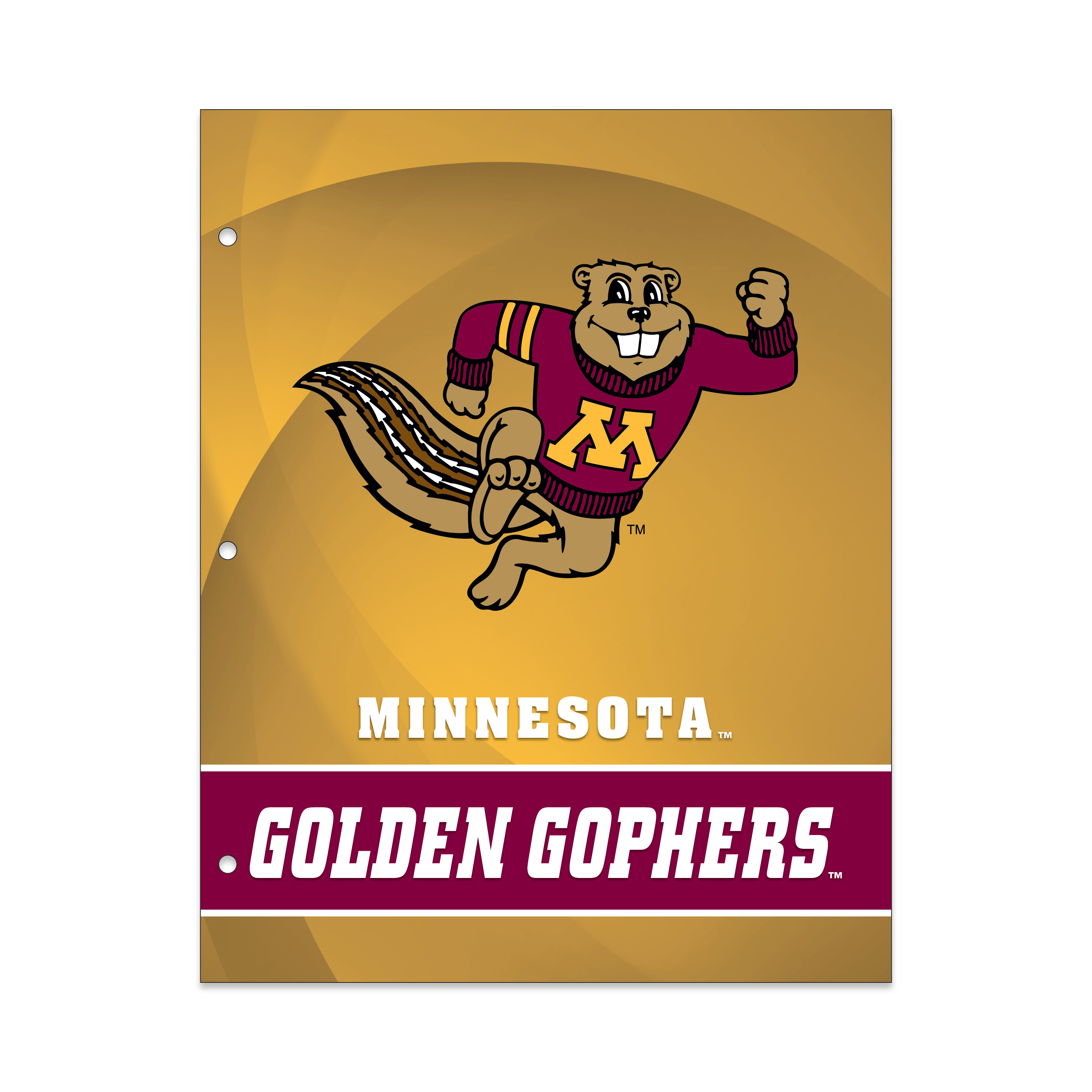 NCAA Minnesota Golden Gophers 2 Pocket Portfolio, Three Hole Punched, Fits Letter Size