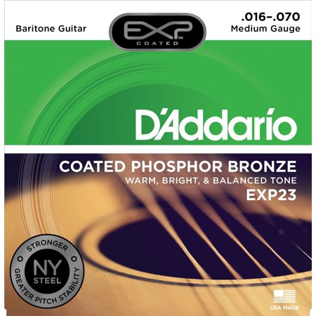 D'Addario EXP23 with NY Steel Baritone Guitar Strings, Coated, .016-.070 Daddario Exp Coated Bass Strings