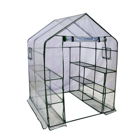 "Abba Patio Mini Walk-In Greenhouse 6 Shelves Stands 3 Tiers Racks Portable Garden Green House, 56""L x 56""W x 77""H"
