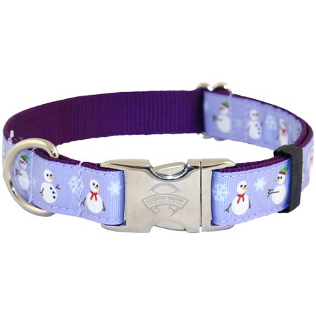 Premium Patterned Dog Collars - Country Brook Design® Premium Christmas Snowman Ribbon Dog Collar