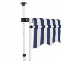 "HERCHR Manual Retractable Awning 98.4"" Blue and White Stripes"