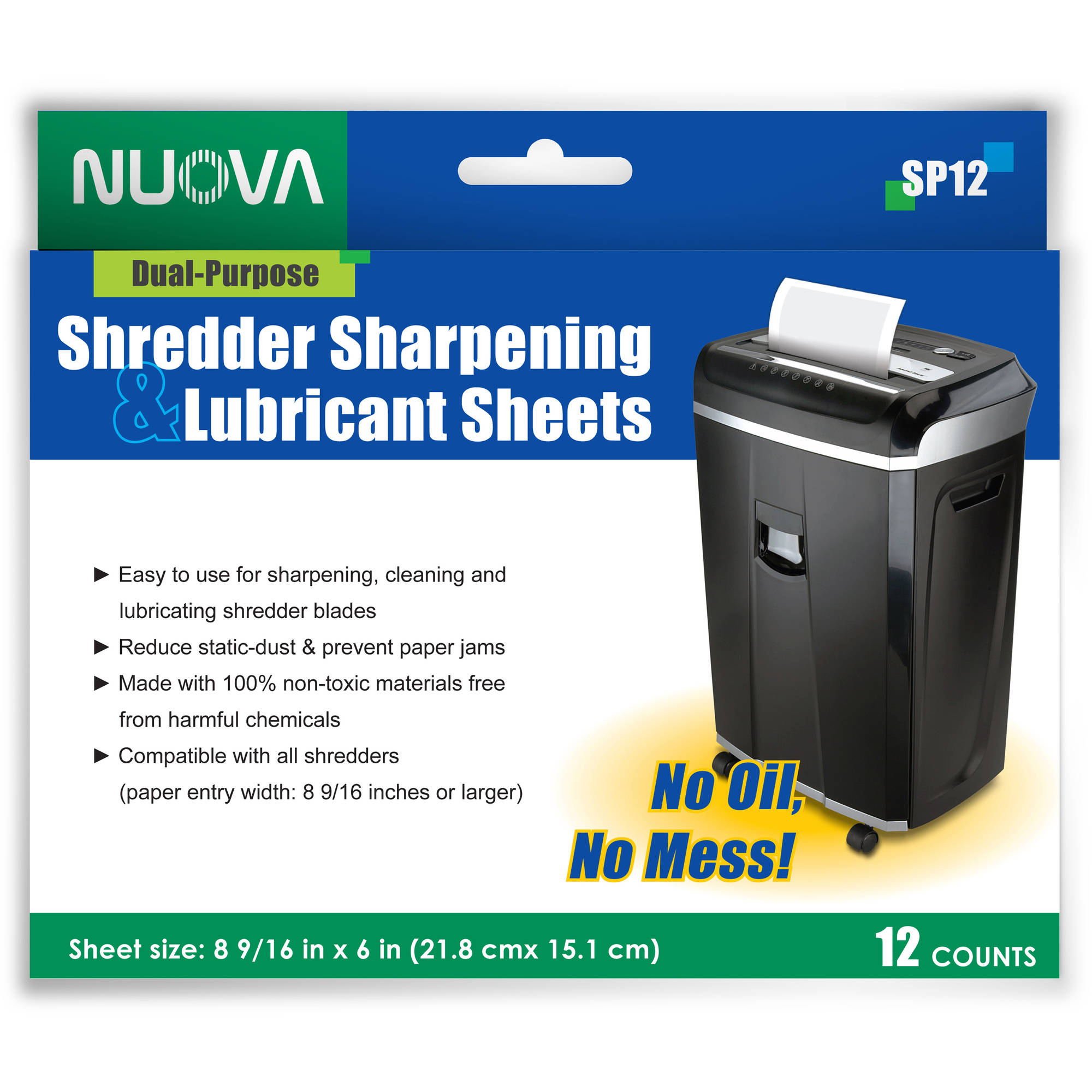 Nuova SP12 Shredder Sharpening and Lubricant Sheets, 12-Count