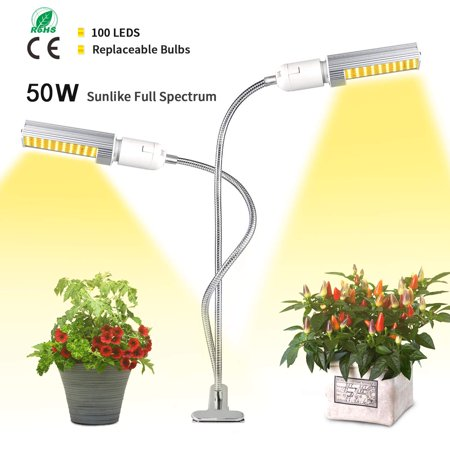 Reactionnx 50W LED Grow Light White, Sunlike 100 LED Full Spectrum Grow Lamp, 2-Switch, 360 Degree Flexible Gooseneck Plant Light for Indoor Greenhouse Hydroponic Plants Seeding, Growing, Flowering ()