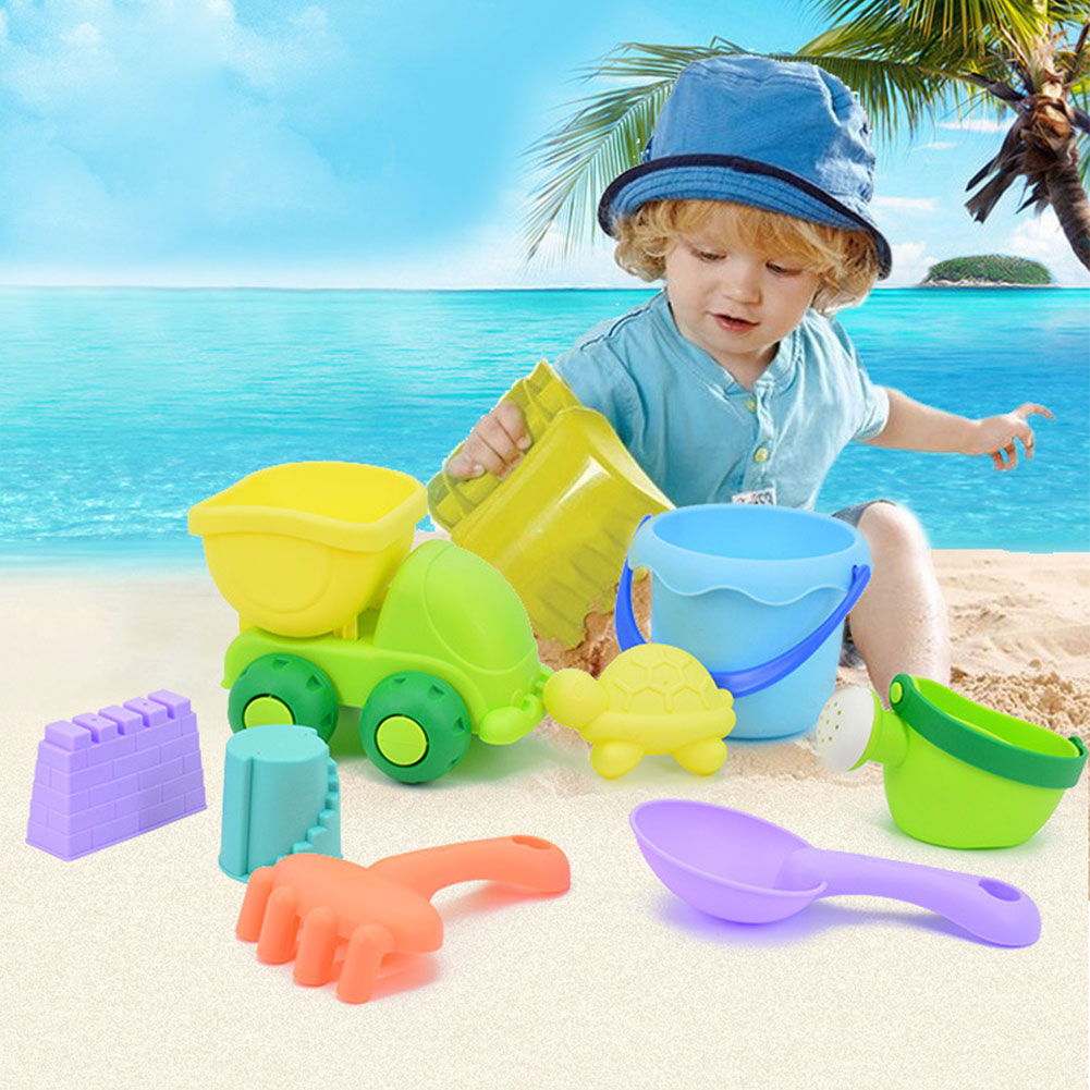 8 Pcs Children Beach Toys Bucket Shovel Rake and Sand Mold Set Soft Play Sand Toy by