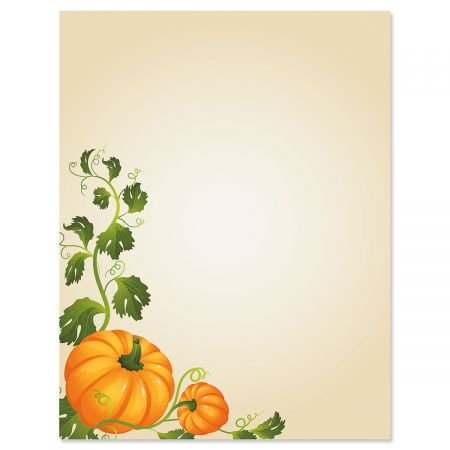 Halloween Design Paper (Pumpkin Vines Halloween Letter Papers - Fall letter papers are 8-1/2