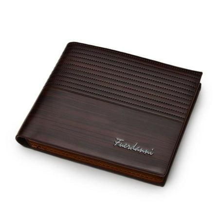 Men's Leather Wallet Men's Fine Vintage Wallets Embossing Scrub Foldable Wallets Short Wallets Coffee