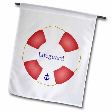 Life Guard Float (3dRose Lifeguard lifesaver Swimming pool life saver preserver - sea beach life guard red and white float - Garden Flag, 18 by)