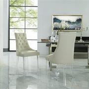 Daube Cream White Linen Dining Chairs, Pack of 2 - Acrylic Legs, Armless