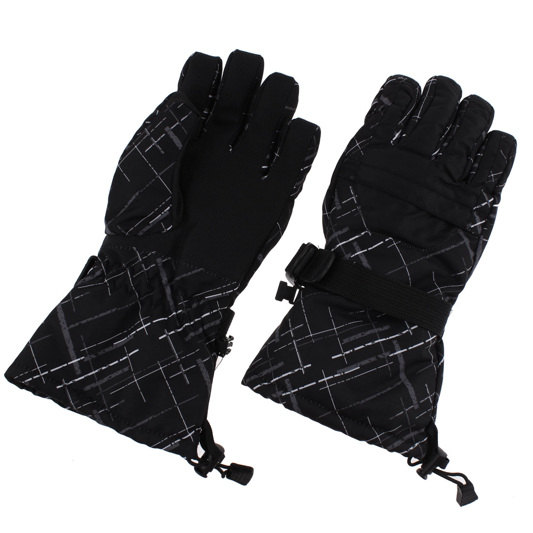 XL Winter Waterproof Worm Men Snow Skiing Full Finger Gloves Black Graffiti Pair