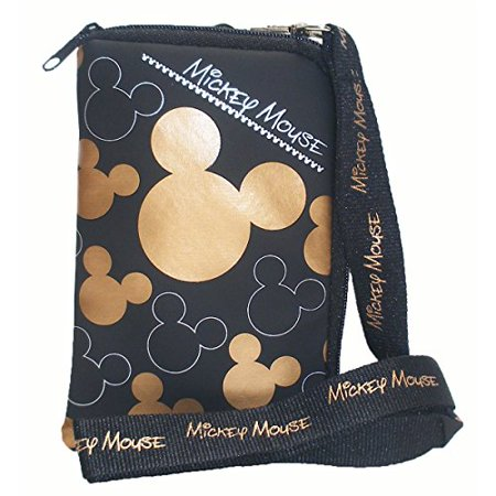 Disney Mickey Mouse Black Gold Lanyard with Cell Phone Case or Coin Purse (1 Lanyard) - Disney Mickey Halloween Tickets