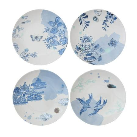 3R Studios Blue & White Stoneware Plates - Set of 4 ()