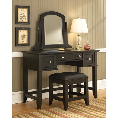 Home styles bedford vanity table mirror and bench black for Black makeup table with mirror