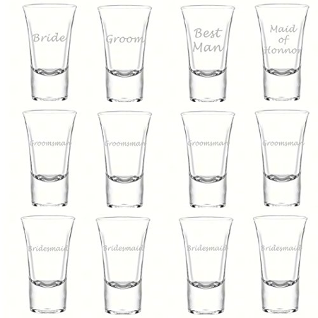 Bridesmaid Shot Glasses (Etched Glass Wedding Party Shot Glasses (1 dz), 1.75oz LORD Style Shooter Shot Glass, Custom Laser Engraved Groomsman and Bridesmaid Favor)
