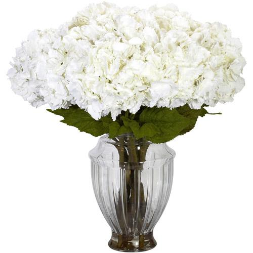 Large Hydrangea with European Vase Silk Flower Arrangement