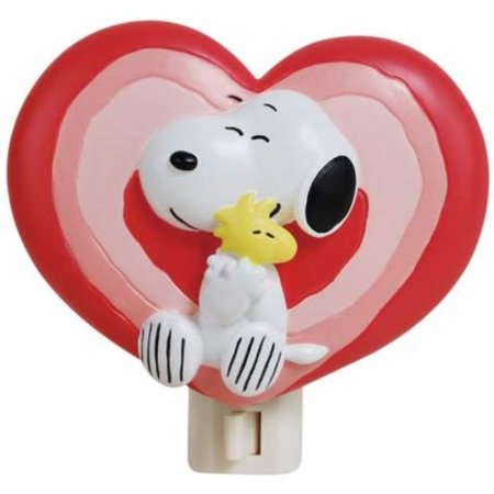 Snoopy Hugging Woodstock Love Filled Hearts Night Light 4 Inch 7 Watt