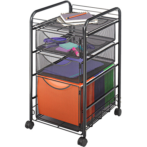 Safco Onyx Mesh Mobile File with Two Supply Drawers, 15-1/2 x 17-1/4 x 27-1/4, Black