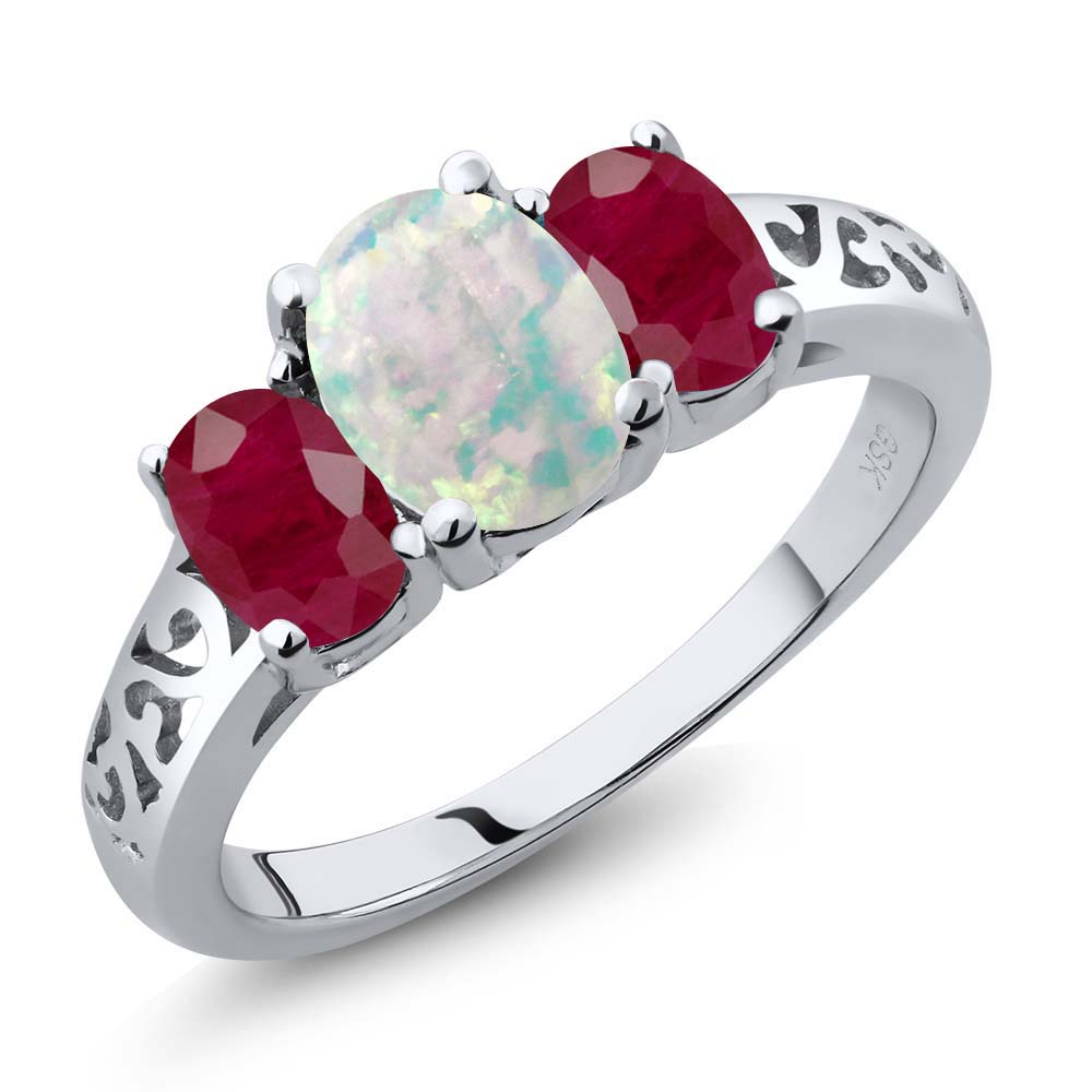 2.25 Ct Oval Cabochon White Simulated Opal Red Ruby 925 Sterling Silver Ring