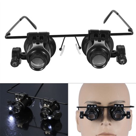 Smart Novelty 20X Watch Magnifier Jeweler Magnifying Eye Glasses Loupe Lens Repair LED Light](Novelty Glasses With Eyes)