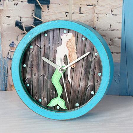 Mute Quartz Alarm Clock, Retro Mermaid Round Wooden Clock, Small Silent Desk Time Clocks Home Office Decoration Color:Blue