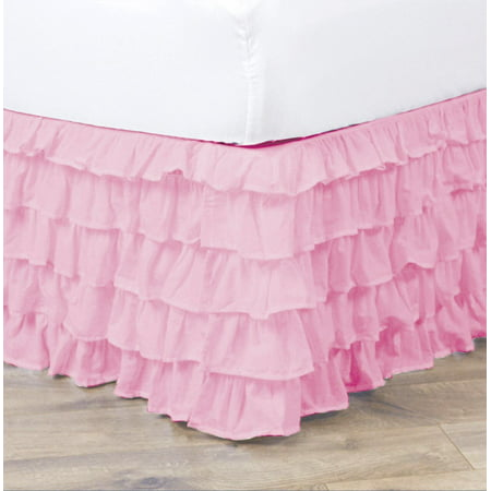 empire home pleated ruffled bed skirt solid dust ruffle all sizes queen light pink. Black Bedroom Furniture Sets. Home Design Ideas