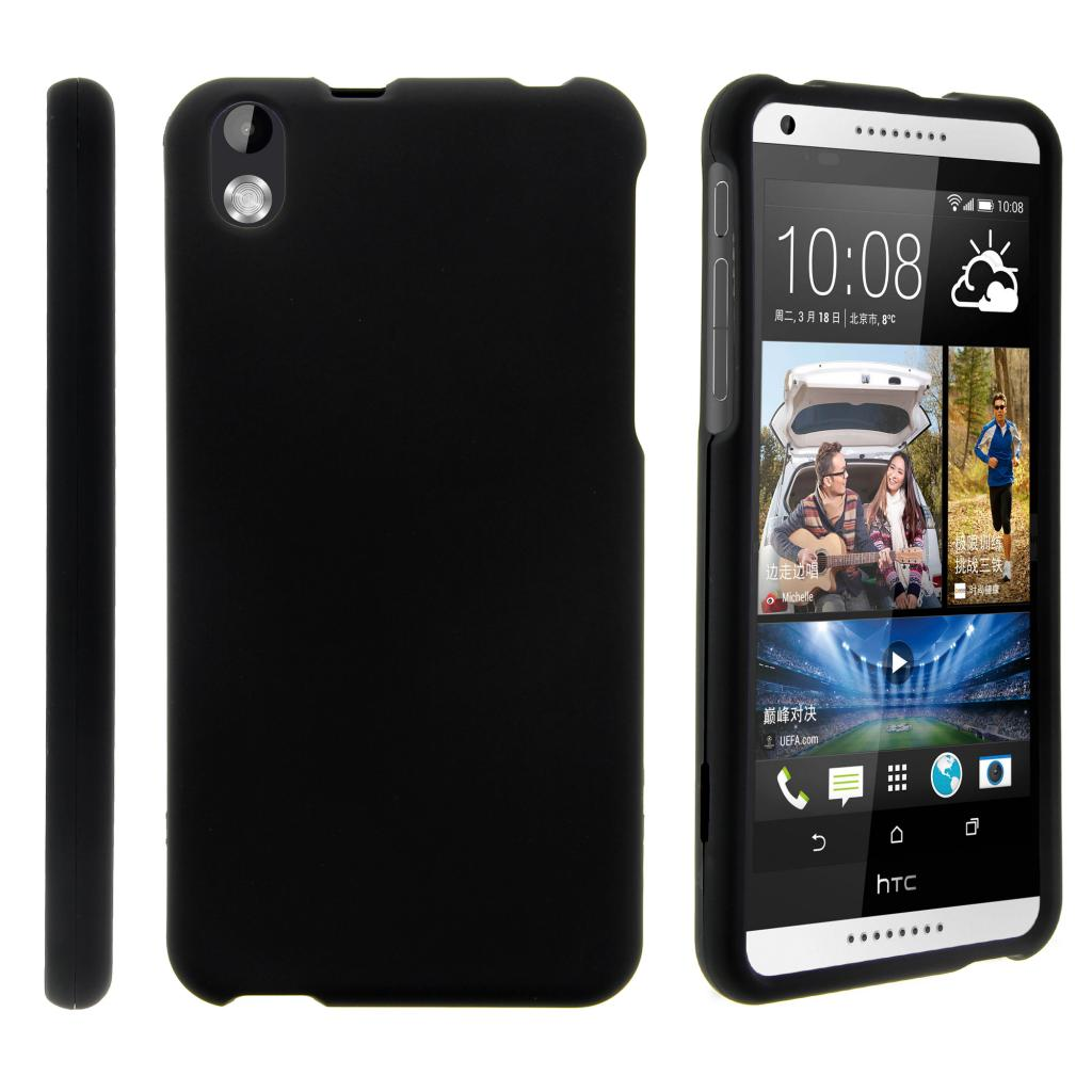 HTC Desire 816, [SNAP SHELL][Matte Black] 2 Piece Snap On Rubberized Hard Plastic Cell Phone Cover with Cool Designs - Black