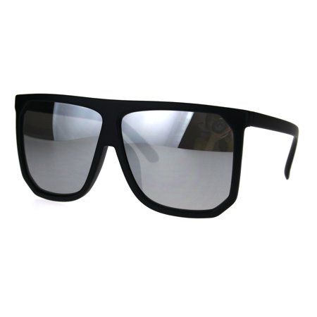 Oversized Flap (Mobster Flat Top Large Oversize Plastic Retro Sunglasses Black Mirror )