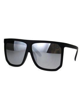 94bbdcb0e7 Product Image Mobster Flat Top Large Oversize Plastic Retro Sunglasses  Black Mirror
