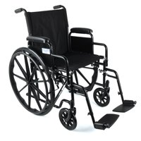 Equate Wheelchair With Large 18-Inch Padded Seat, Removable Swing-Away Footrests, Foldable, Black