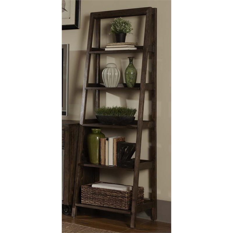 Bowery Hill 5 Shelf Leaning Bookcase in Rustic Brown